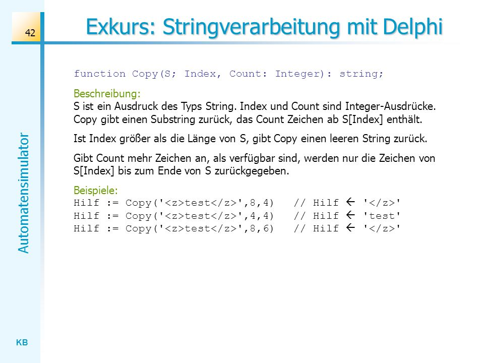 Exkurs: Stringverarbeitung mit Delphi
