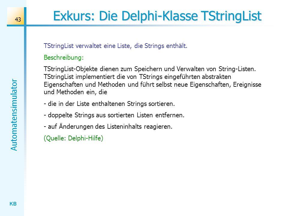 Exkurs: Die Delphi-Klasse TStringList