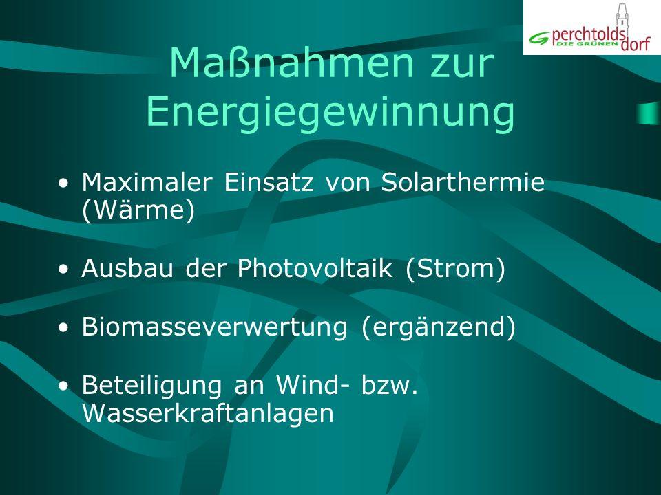 Maßnahmen zur Energiegewinnung