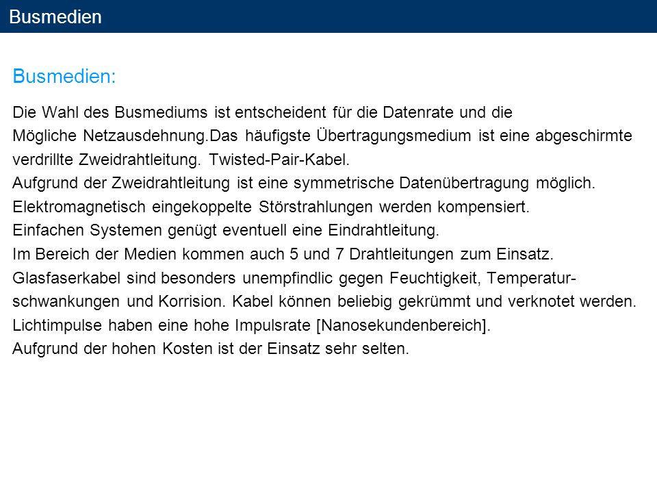 Busmedien Busmedien: Die Wahl des Busmediums ist entscheident für die Datenrate und die.