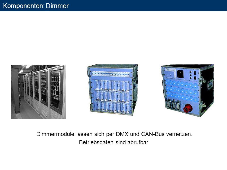 Komponenten: Dimmer Dimmermodule lassen sich per DMX und CAN-Bus vernetzen.