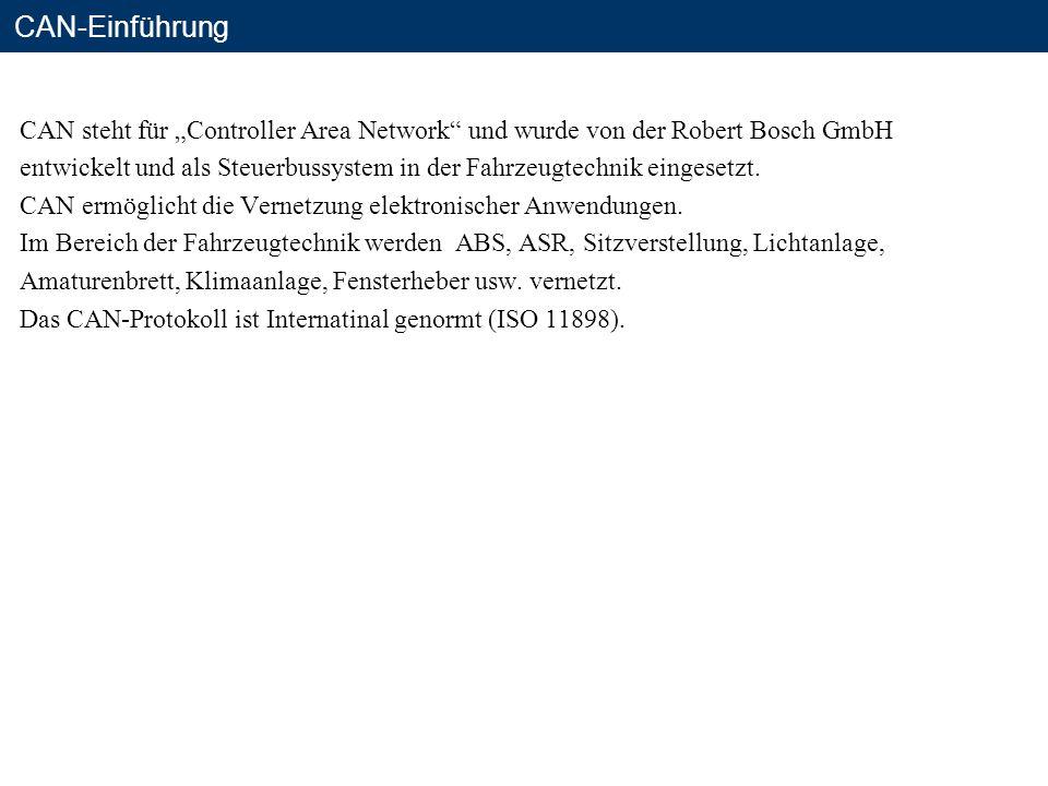 """CAN-Einführung CAN steht für """"Controller Area Network und wurde von der Robert Bosch GmbH."""