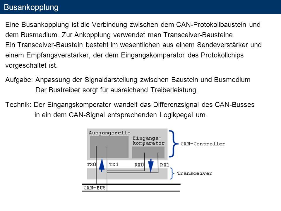 Busankopplung Eine Busankopplung ist die Verbindung zwischen dem CAN-Protokollbaustein und.