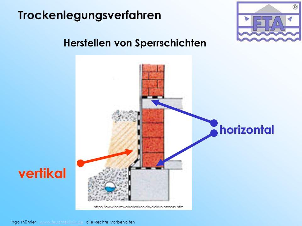 vertikal Trockenlegungsverfahren horizontal