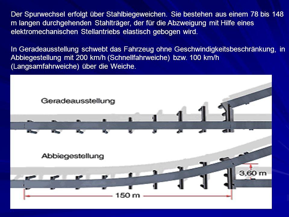 Der Spurwechsel erfolgt über Stahlbiegeweichen
