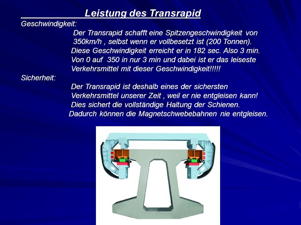 Leistung des Transrapid