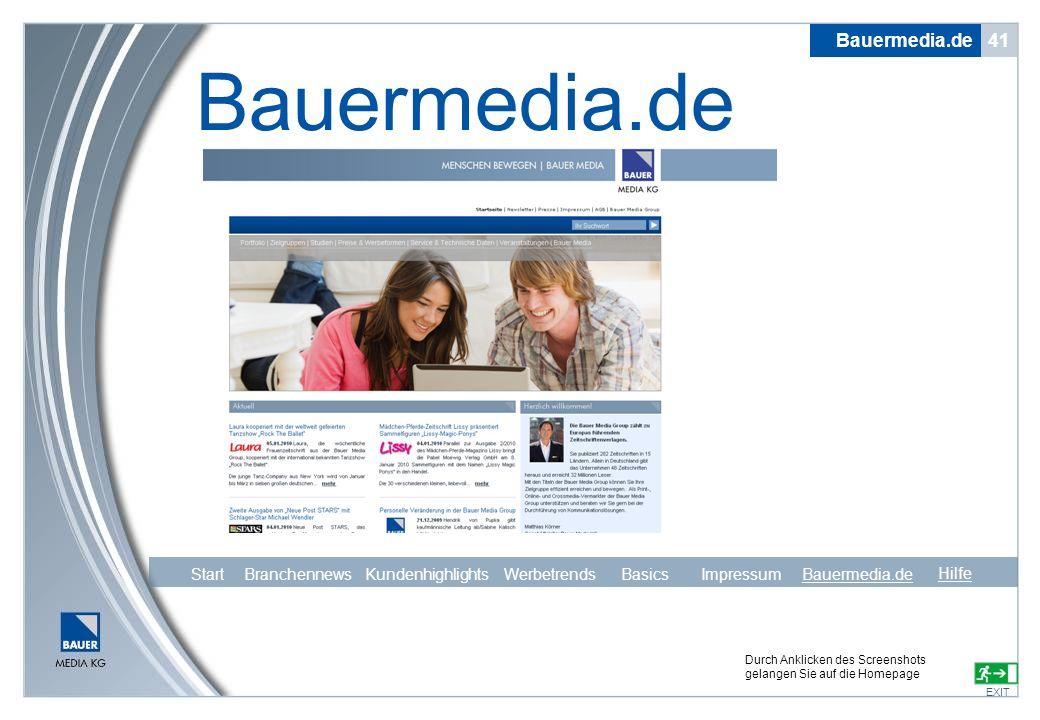 Bauermedia.de Bauermedia.de 41 Start Branchennews Kundenhighlights