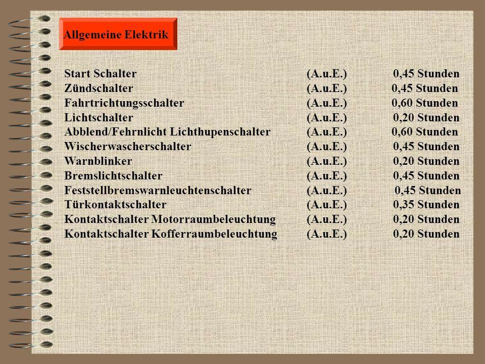 Allgemeine Elektrik Start Schalter (A.u.E.) 0,45 Stunden. Zündschalter (A.u.E.) 0,45 Stunden.