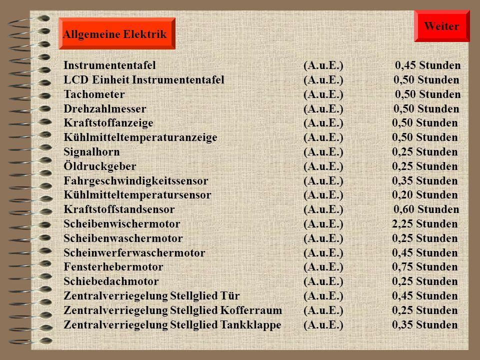 Weiter Allgemeine Elektrik. Instrumententafel (A.u.E.) 0,45 Stunden.