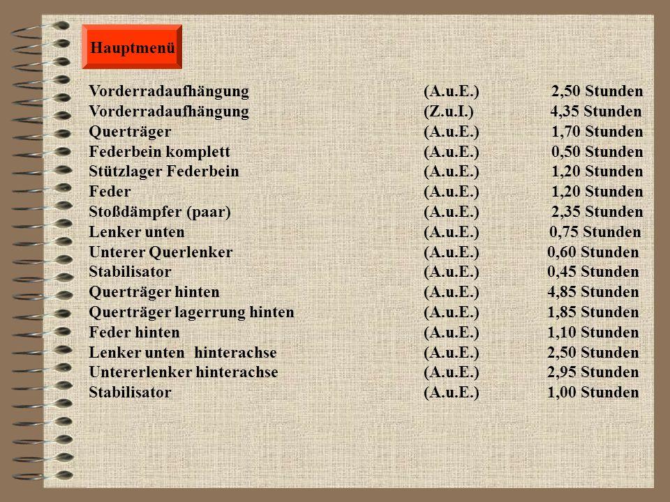 Hauptmenü Vorderradaufhängung (A.u.E.) 2,50 Stunden. Vorderradaufhängung (Z.u.I.) 4,35 Stunden.