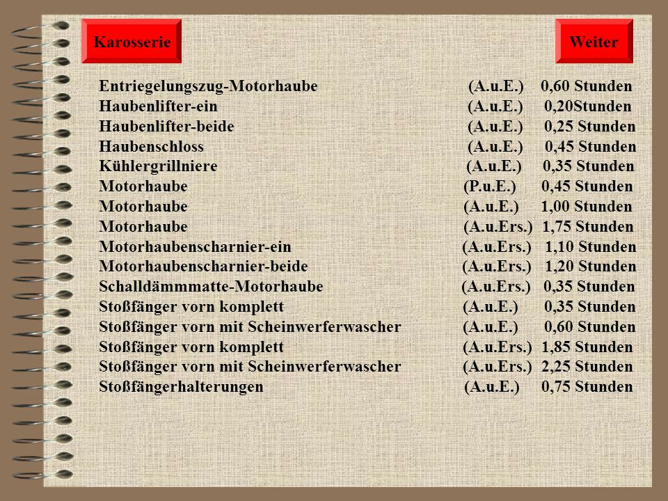 Karosserie Weiter. Entriegelungszug-Motorhaube (A.u.E.) 0,60 Stunden.