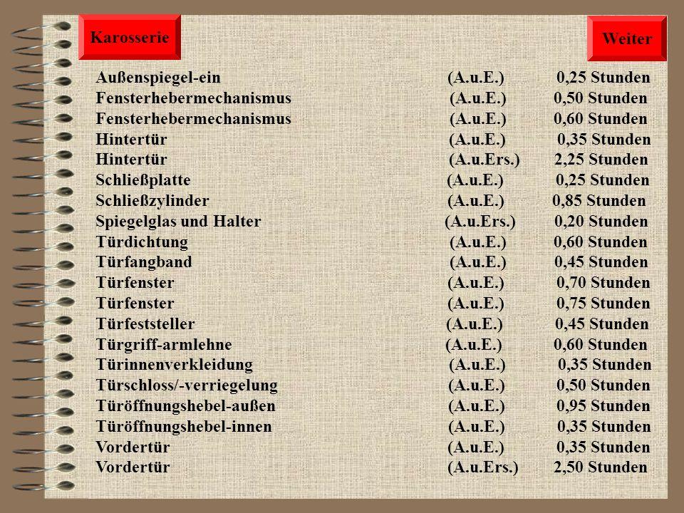 Karosserie Weiter. Außenspiegel-ein (A.u.E.) 0,25 Stunden.