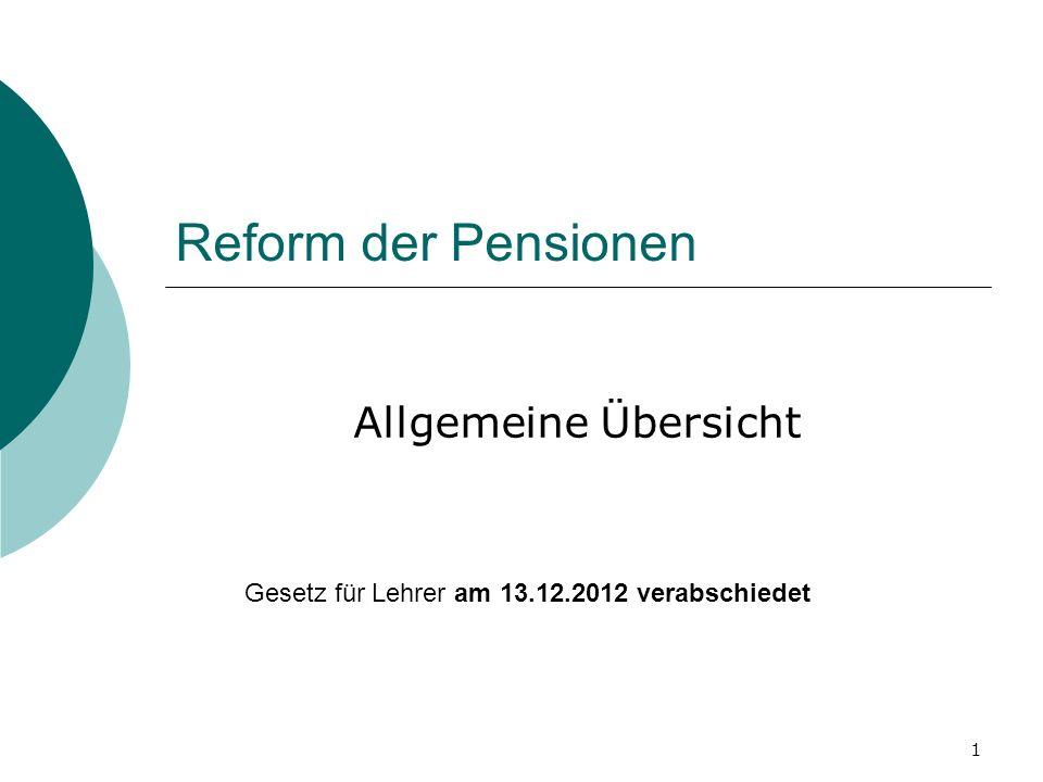 Reform der Pensionen Allgemeine Übersicht
