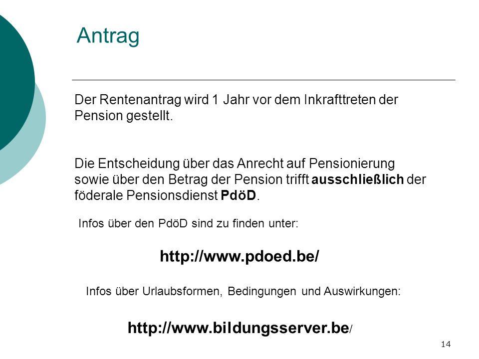 Antrag http://www.pdoed.be/ http://www.bildungsserver.be/