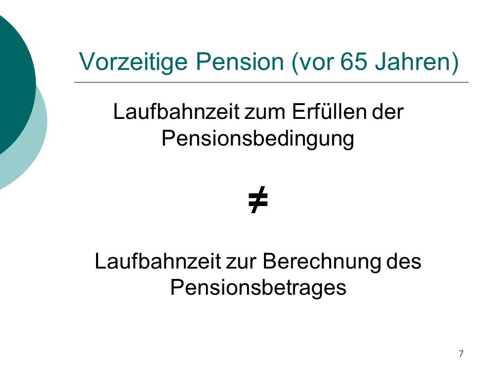 Vorzeitige Pension (vor 65 Jahren)