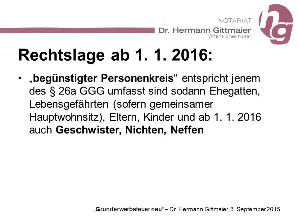 Rechtslage ab 1. 1. 2016: