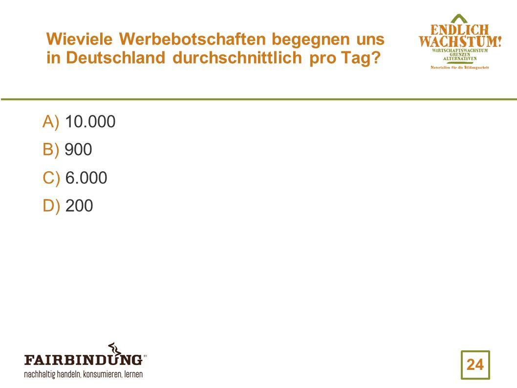 Wieviele Werbebotschaften begegnen uns in Deutschland durchschnittlich pro Tag