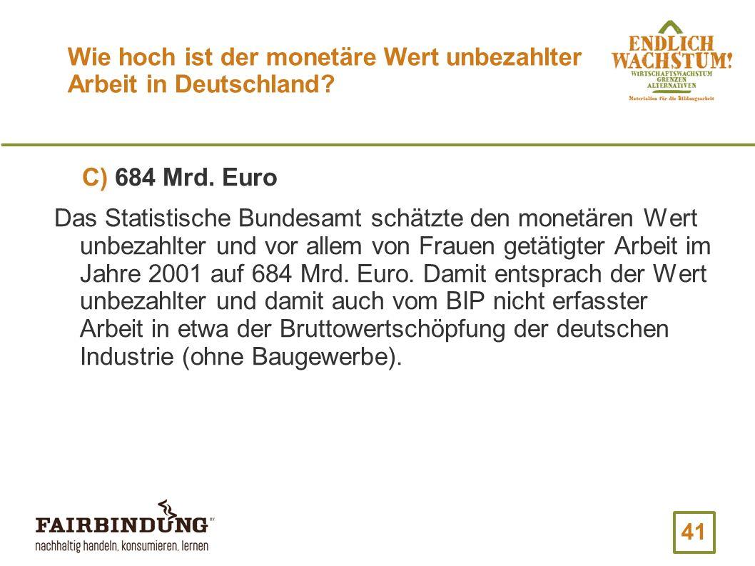 Wie hoch ist der monetäre Wert unbezahlter Arbeit in Deutschland