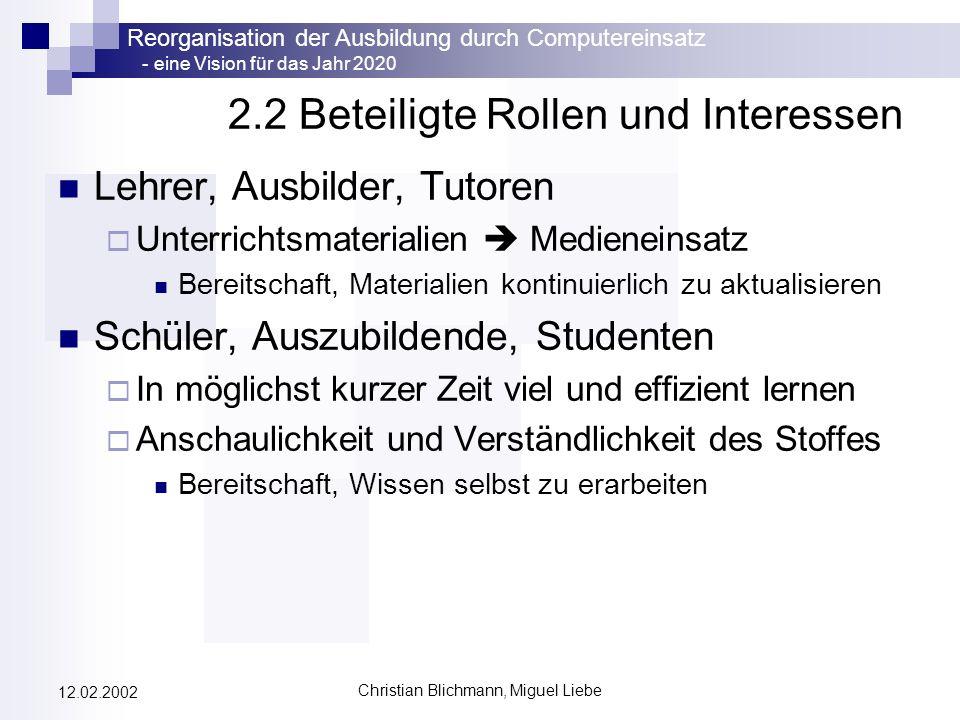 2.2 Beteiligte Rollen und Interessen