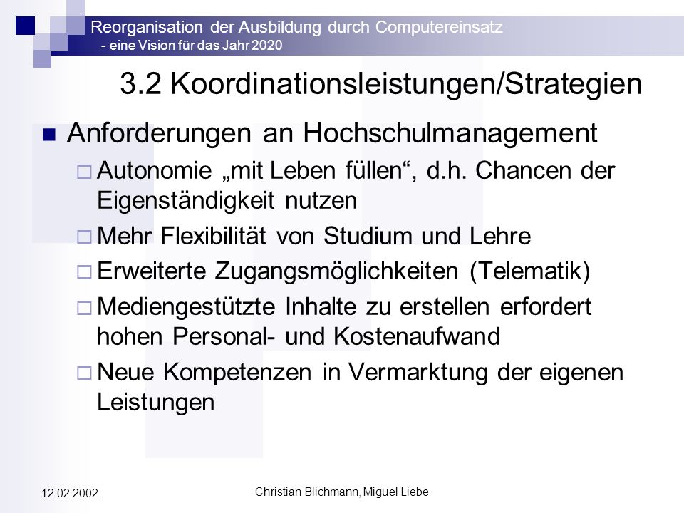 3.2 Koordinationsleistungen/Strategien
