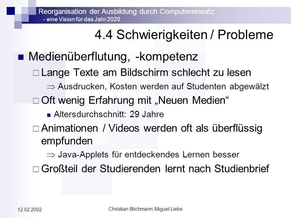 4.4 Schwierigkeiten / Probleme