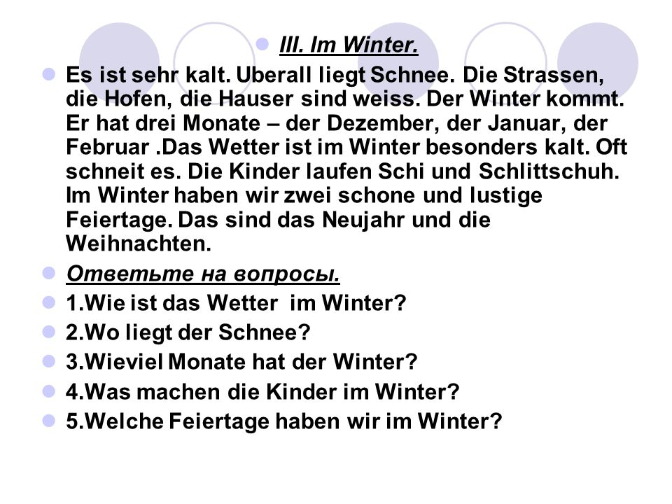 III. Im Winter.