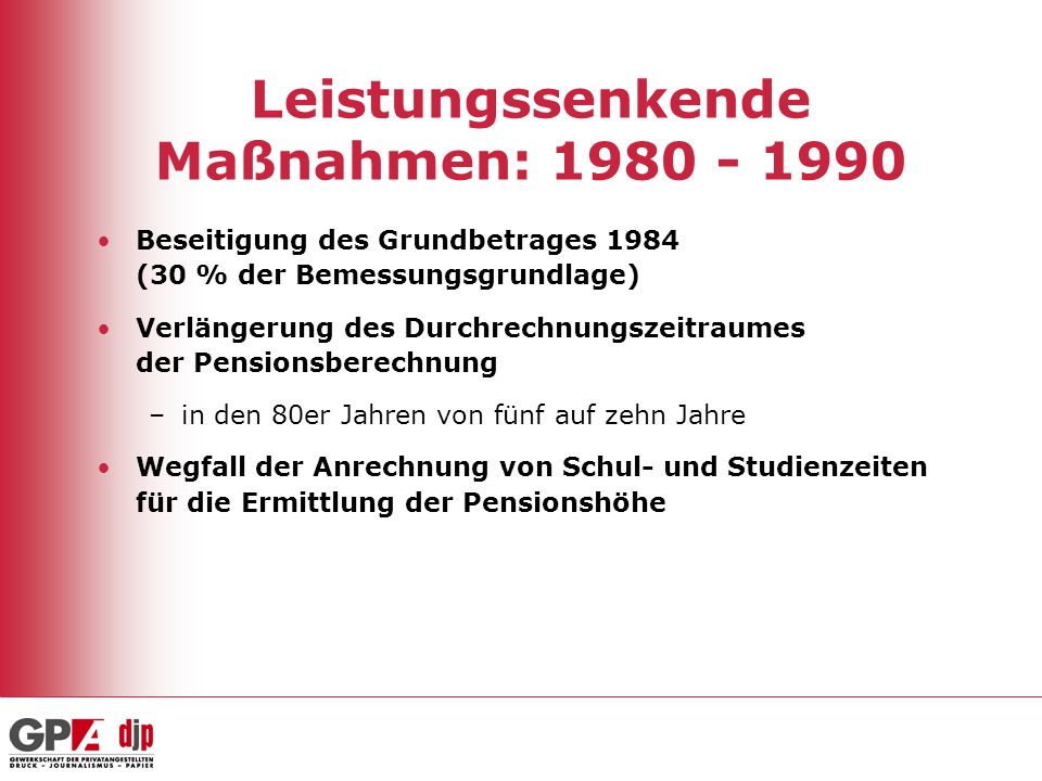 Leistungssenkende Maßnahmen: 1980 - 1990