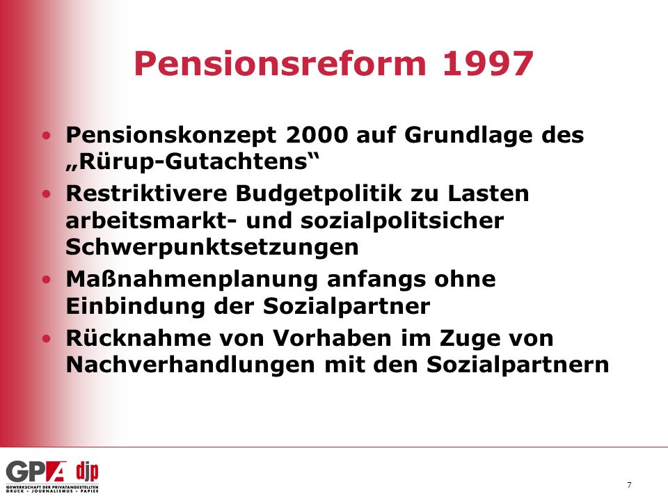 """Pensionsreform 1997Pensionskonzept 2000 auf Grundlage des """"Rürup-Gutachtens"""