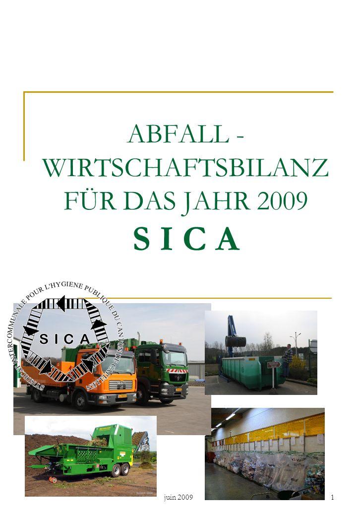 ABFALL - WIRTSCHAFTSBILANZ FÜR DAS JAHR 2009 S I C A