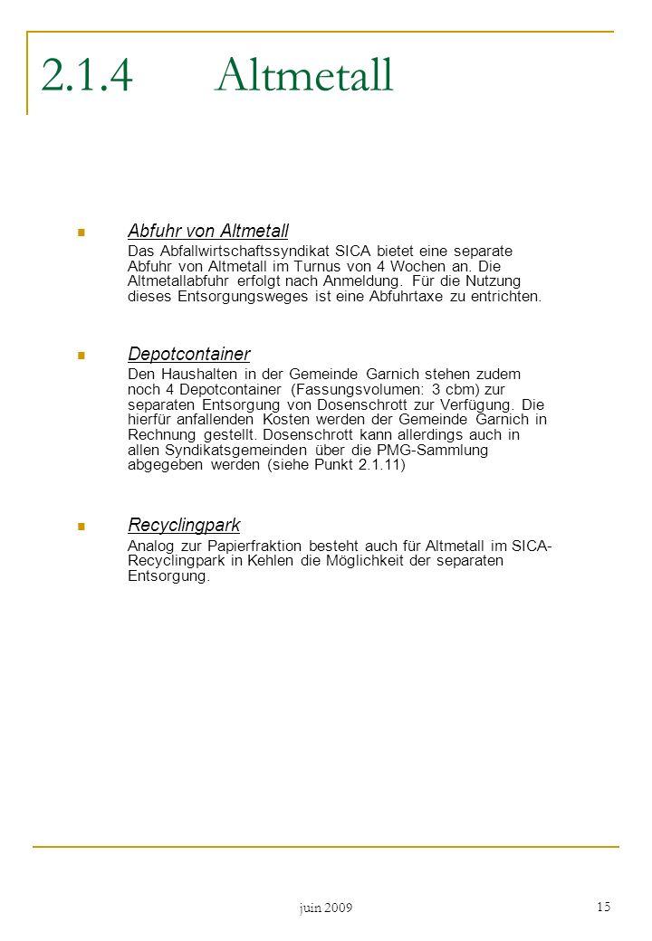 2.1.4 Altmetall Abfuhr von Altmetall Depotcontainer Recyclingpark
