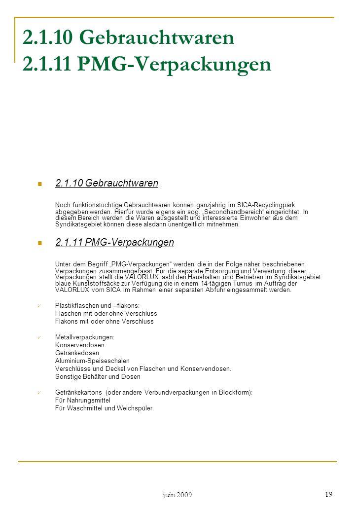 2.1.10 Gebrauchtwaren 2.1.11 PMG-Verpackungen