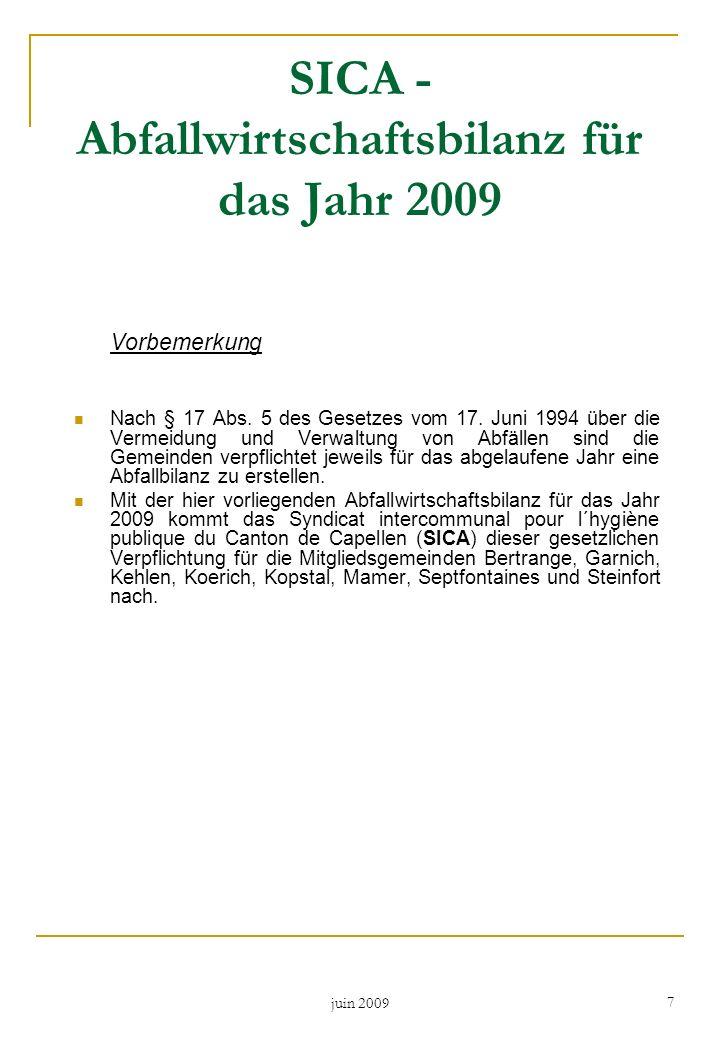 SICA - Abfallwirtschaftsbilanz für das Jahr 2009