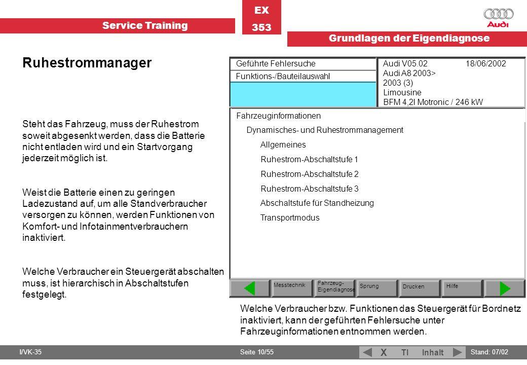 Ruhestrommanager Geführte Fehlersuche. Funktions-/Bauteilauswahl.