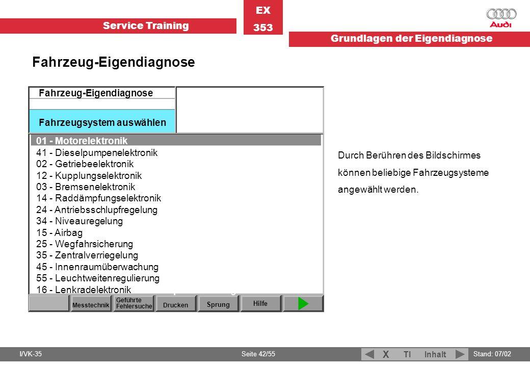 Fahrzeug-Eigendiagnose Fahrzeugsystem auswählen