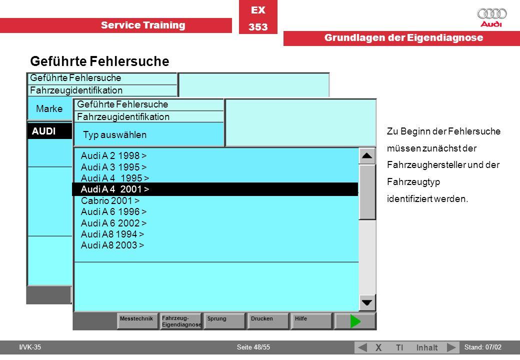 Geführte Fehlersuche Fahrzeugidentifikation Marke AUDI