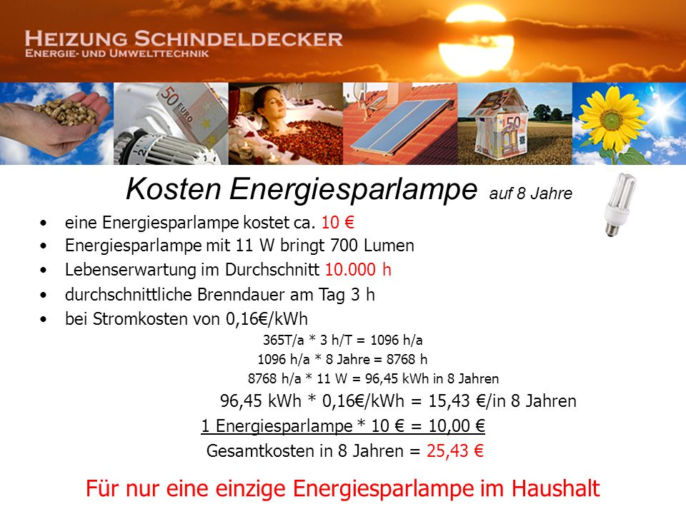 Kosten Energiesparlampe auf 8 Jahre
