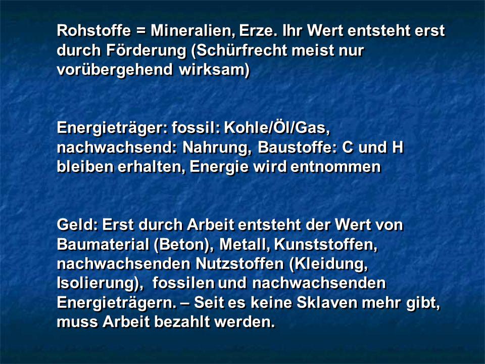 Rohstoffe = Mineralien, Erze