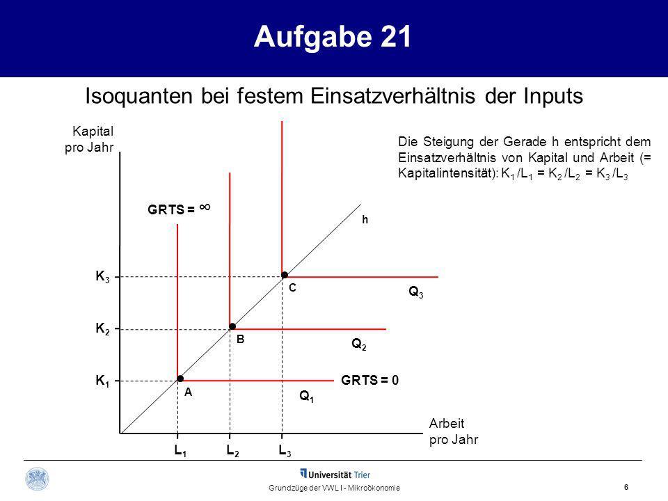 Aufgabe 21 Isoquanten bei festem Einsatzverhältnis der Inputs Kapital