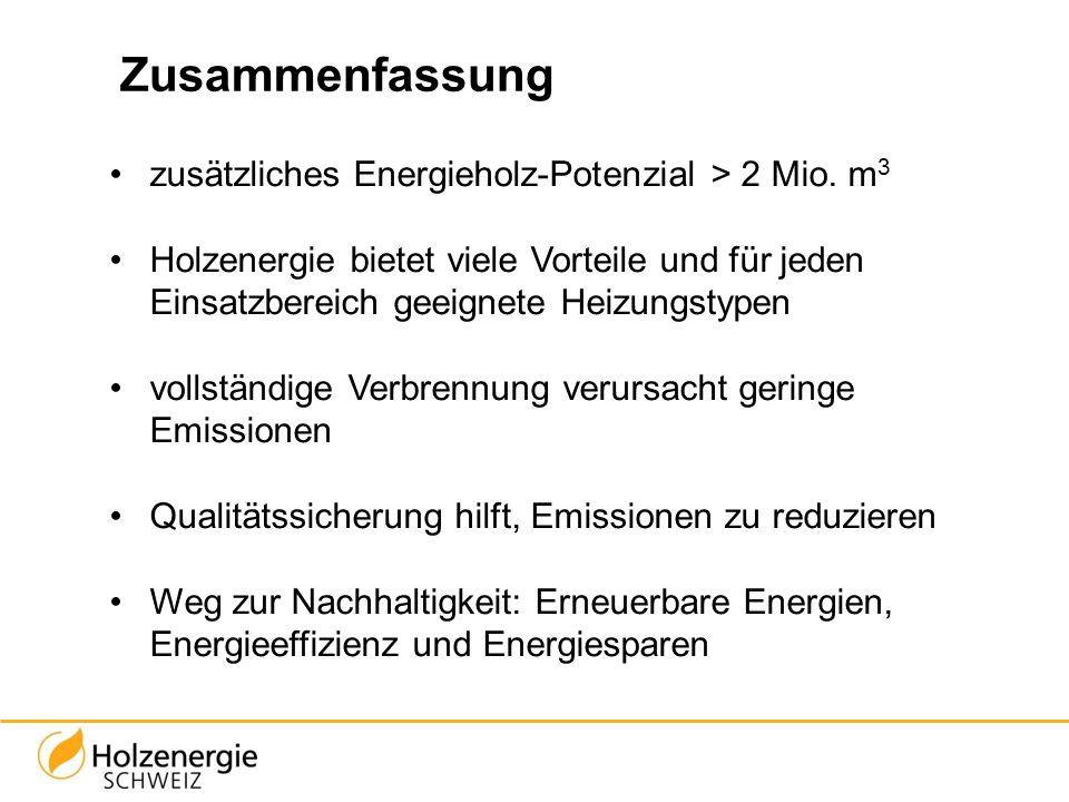 Zusammenfassung zusätzliches Energieholz-Potenzial > 2 Mio. m3