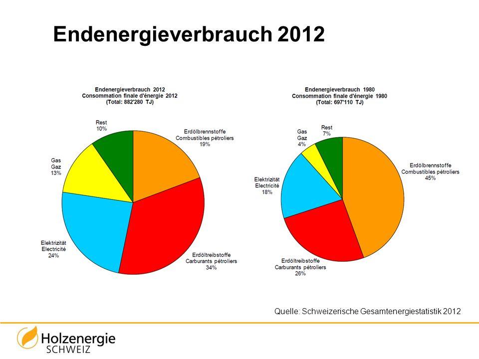 Endenergieverbrauch 2012 Elektrizität: Vorwiegend Wasserkraft (55%) und Atomkraft (40%) Rest: Holz, Biomasse, Wind, Sonne, Abfall (KVA)