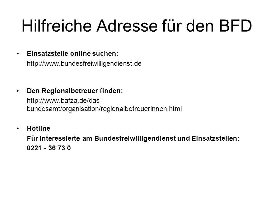 Hilfreiche Adresse für den BFD