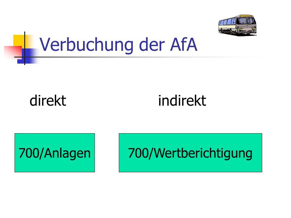Verbuchung der AfA direkt indirekt 700/Anlagen 700/Wertberichtigung