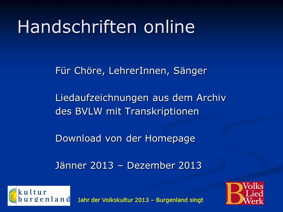 Handschriften online Für Chöre, LehrerInnen, Sänger