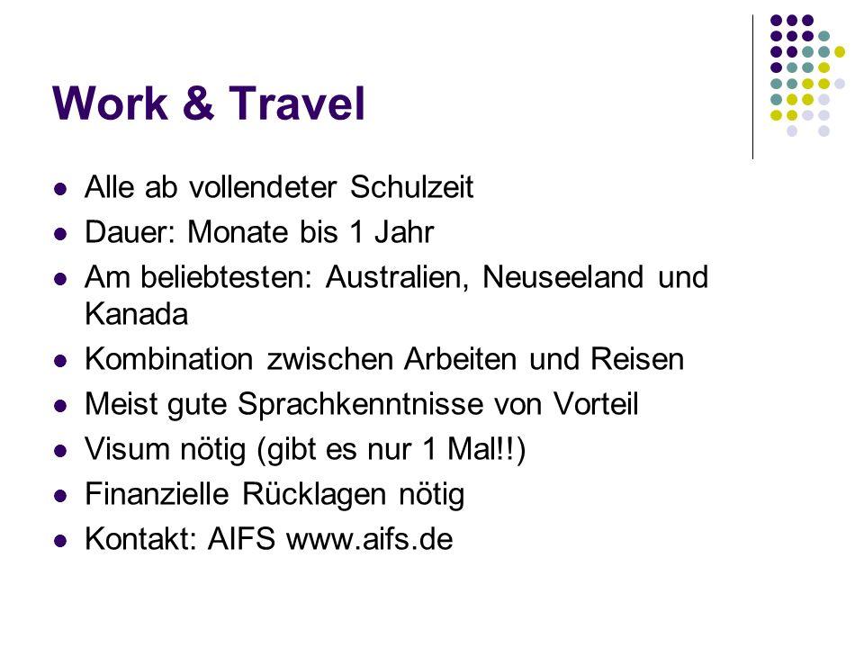Work & Travel Alle ab vollendeter Schulzeit Dauer: Monate bis 1 Jahr