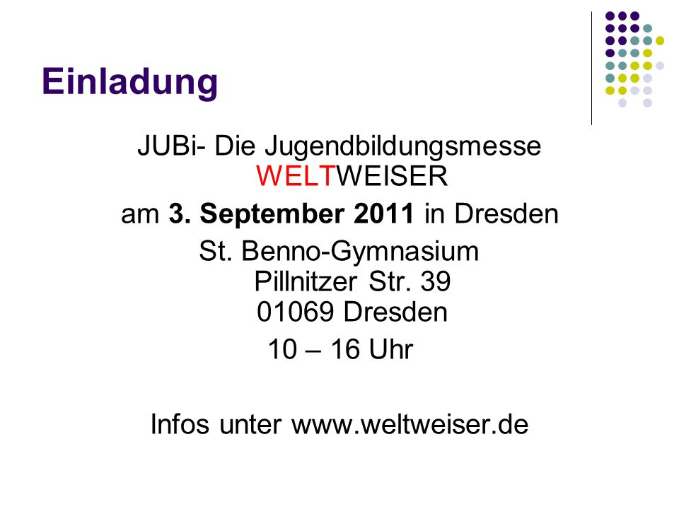 Einladung JUBi- Die Jugendbildungsmesse WELTWEISER