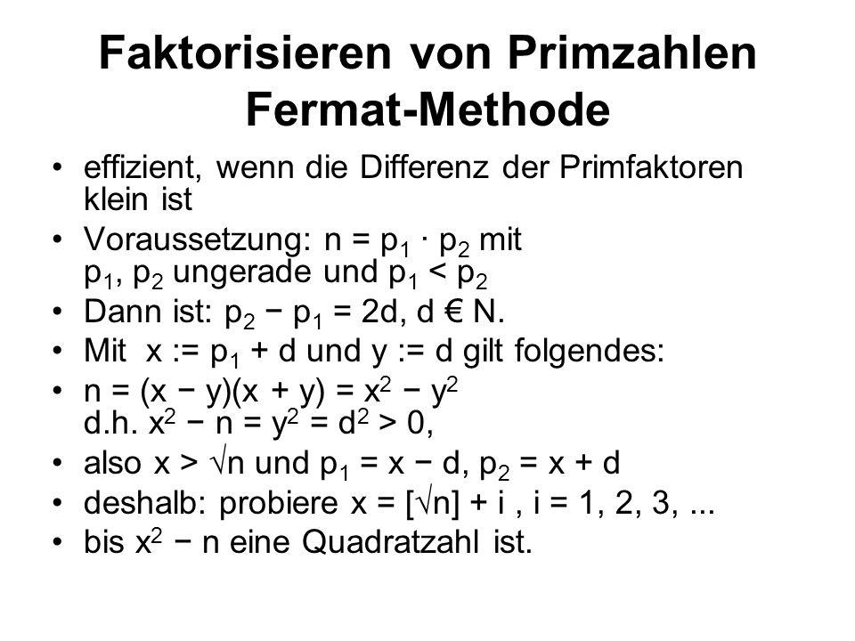 Faktorisieren von Primzahlen Fermat-Methode