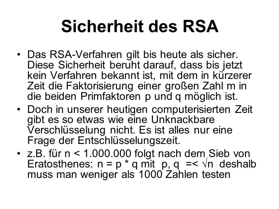 Sicherheit des RSA