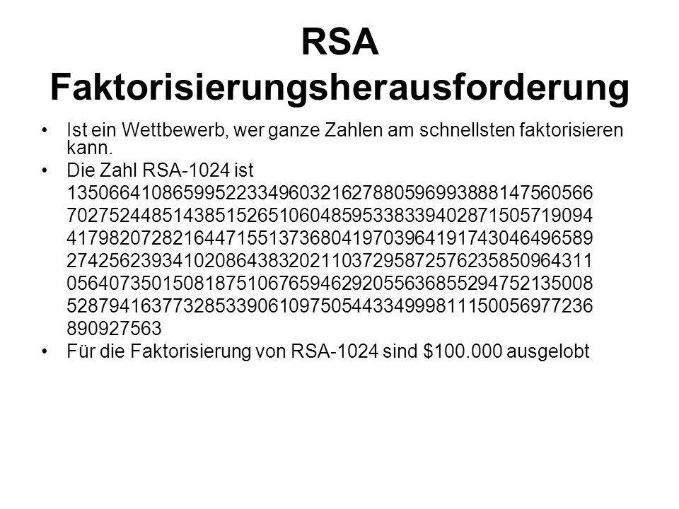 RSA Faktorisierungsherausforderung