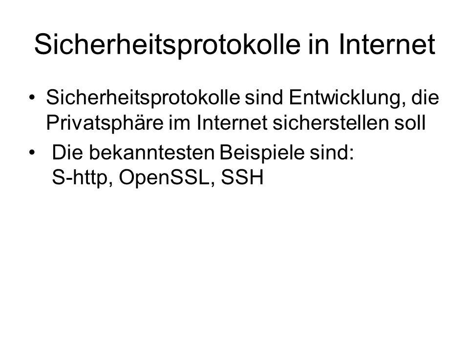 Sicherheitsprotokolle in Internet