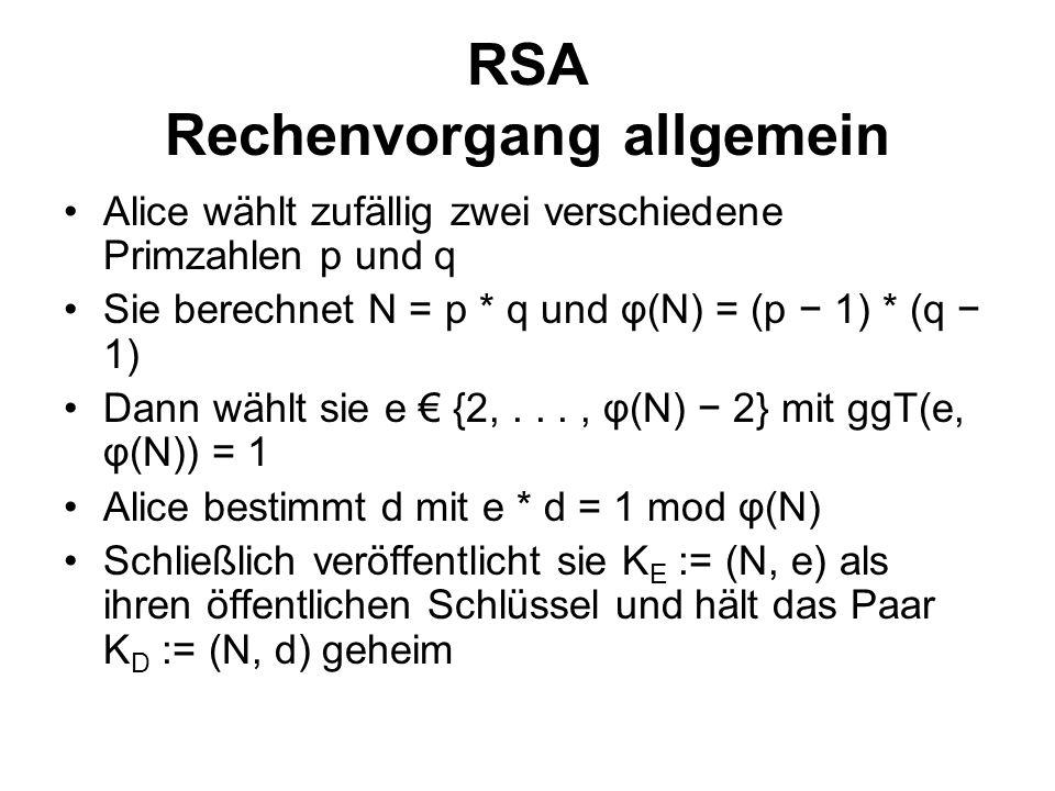 RSA Rechenvorgang allgemein